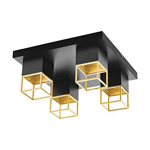 EGLO MONTEBALDO plafondlamp, staal, 5 W, zwart, goud