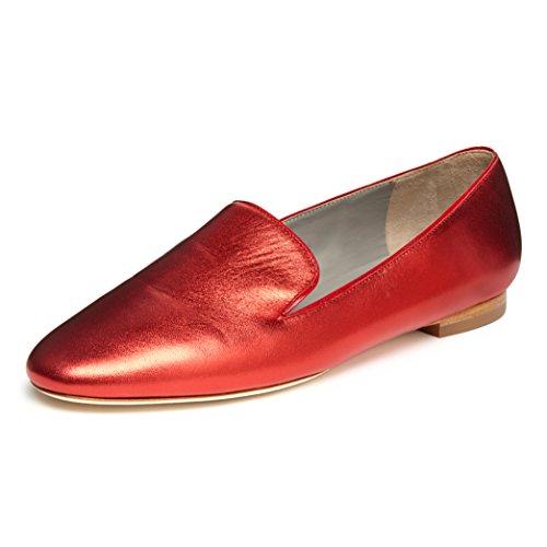 b4Ballerinas Damen rote Laminat-Leder-Mokassins (38.5 EU)