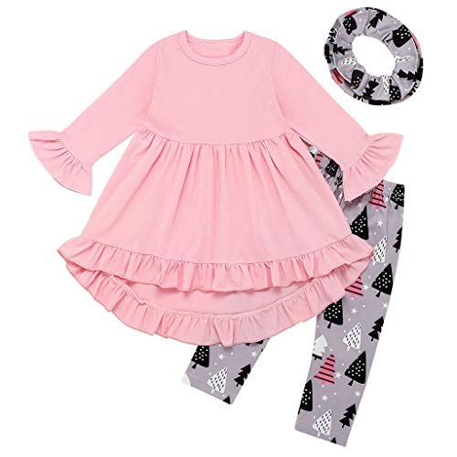 Toddler Kids Baby Girls Christmas Ruffle Dress Cartoon Trees Print+Bib Outfits