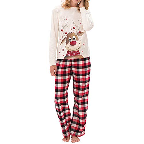 Christmas Family Matching Pajamas Set Reindeer Sleepwear Classic Xmas Outfits for Adults,Kids (White-Mom, S)