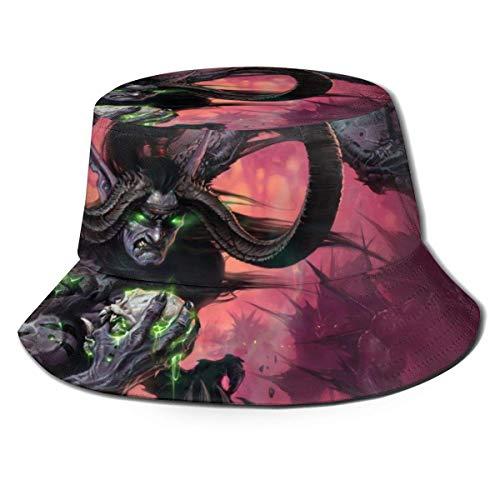 World of Warcr-AFT Illidan Stormrage Sombrero de Pescador Verano Protección UV Sombreros de Cubo de Viaje Sombrero de Playa Plegable para Hombres Mujeres-QZ0