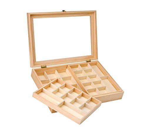 Glorex 62003341–Scatola portaoggetti in Legno di Pino, FSC Mix, Misure Circa 40x 28x 7,5 cm