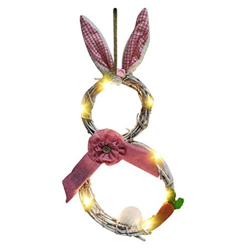 Osterdeko, Osterhasengirlande mit Lichtern, Blossom Rabbit Garland, Oster Türkranz, Ostern LED Lichter Kranz Rattan Kreis Anhänger für Home Decoration, Rosa