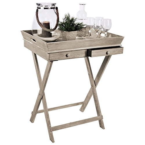 Wohaga Serviertisch 'Breakfast' Tablett-Tisch mit 2 Schubladen und Gestell Beistelltisch Serviertablett abnehmbar Landhaus Stil