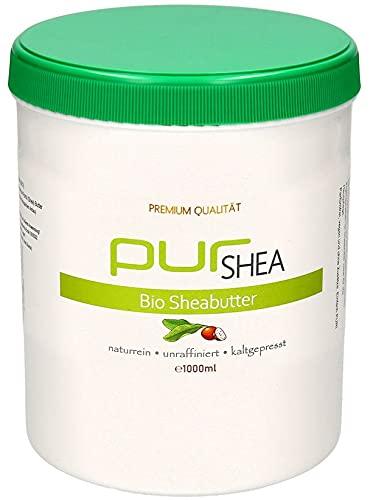 purSHEA - (1000ml) Sheabutter Bio Unraffiniert Kaltgepresst - Shea Butter Naturbelassen Ohne Zusätze Vegan Parfümfrei- 100% Reine Bio-Sheabutter aus Ghana - Premium Qualität (A+)