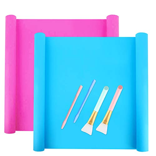 Alfombrilla de silicona grande (15.8 x 11.8 pulgadas), el juego incluye 2 hojas extra grandes para manualidades, varillas y cepillos hacer vasos purpurina manualidades