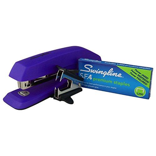 "Swingline 3-in-1 Deluxe Desktop Stapler Set, Includes 1250 1/4"" S.F.4 Premium Full Strip Staples and Staple Remover, Purple"