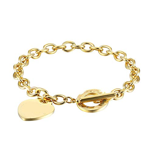 Bracelet Classic Carve Forever Love Heart Bracelet For Women Titanium Steel Gold Color Woman Bracelet Jewelry Lover Gift