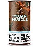 Vegan Muscle Protein | Chocolate | Proteína vegana de semillas germinadas | Enriquecida con bcaa y creatina | 600 gramo de polvo