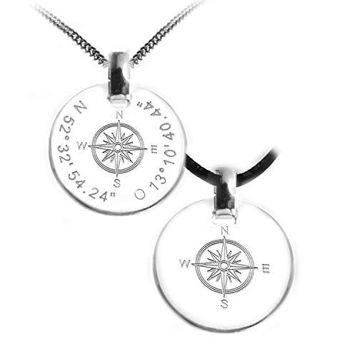 Kette mit Gravur Kompass, Windrose, Koordinaten, Lederband oder Silberkette, 925 Sterlingsilber