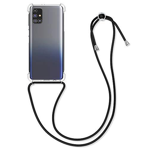 kwmobile Schutzhülle kompatibel mit Samsung Galaxy M31s - Hülle mit Kordel zum Umhängen - Silikon Handy Hülle Schwarz Transparent