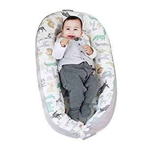 Portable Baby Nest Lounger Baby Bedside co Sleeper Bed Bassinet Mattress, Super Soft Cotton,Newborn Shower Gift Essentials (Animals)
