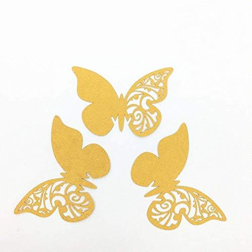 ElecMotive 50 Pezzi Farfalle 3D Segnaposto Farete Misura Grande Adesiv da Parete Casa Deco Oro