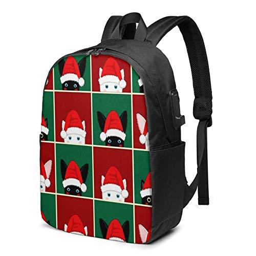 Mochila Portatil 17 Pulgadas Mochila Hombre Mujer con Puerto USB, Tablero de ajedrez Gato Conejo Mochila para El Laptop para Ordenador del Trabajo Viaje