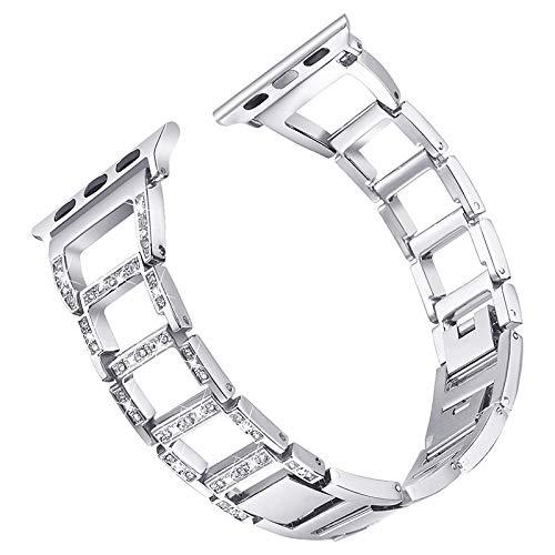 DYH&PW Correa de diamante compatible con Apple Watch Band 44 mm/38 mm, compatible con iWatch 42 mm/40 mm, pulsera de acero inoxidable, compatible con Apple Watch Series 4/3/5/6 SE, plata, 44 mm