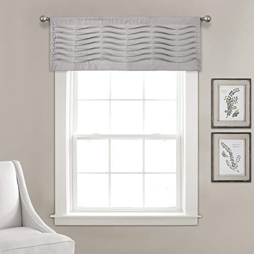 "Lush Decor, Light Gray Wave Texture Valance | Pleated Ruffle Fold Window Kitchen Curtain (Single), 18"" x 52"