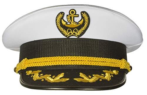 Deluxe Men's Captain Skipper Yacht Hat, Sizes 57-60 cm, Commercial Quality (60 cm) White