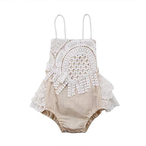 Carolilly Mono Bebé Niña Vestido Tirantes Verano sin Manga Recién Nacido Body de Algodón con Encaje (0 a 24 Meses)