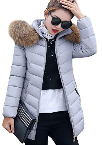EFOFEI Damen Damenmode Daunenjacke mit Taschen Baumwolle Parka Slim Jacke Langarm Skijacke Warm Steppjacke Winter Warm Dicker Daunenmantel Grau L