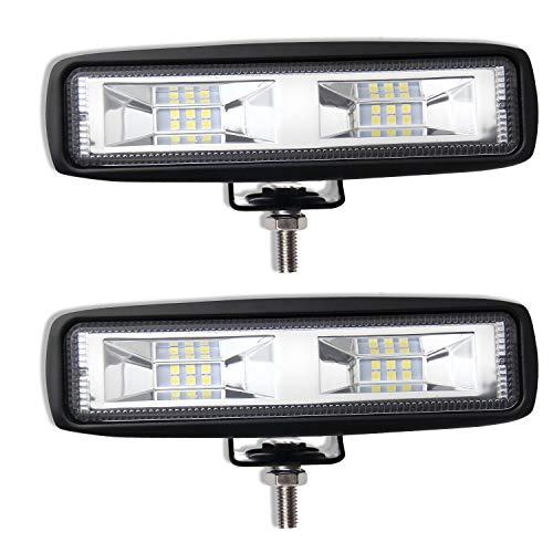 BraveWAY Barra de trabajo LED 6 pulgadas 72 W Luz antiniebla LED 6500 K IP68 Lámpara LED Foco LED de largo alcance 12V Luces LED Coche SUV ATV Camión Barco Tractor (921T-2pcs)