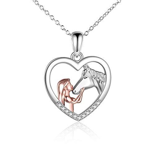 YFN Mädchen und Pferd Halskette für Mädchen Sterling Silber Pferdeschmuck Pferd Geschenke für Frauen (White)