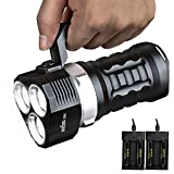 sofirn 6000 Lumen LED Diving Flashlight, Super Bright 100m Underwater and Powerful Waterproof Torch with Magnetic Control Switch, 4 Light Modes and 4×18650 Batteries. (SD01)