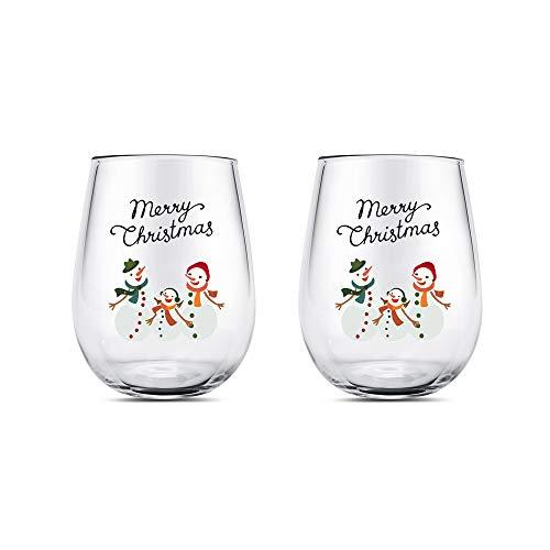 Navidad monigote de nieve Copas de vino Copas de cóctel Vasos de...