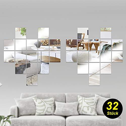 ToPicks Spiegelfliesen Selbstklebend, Wandaufkleber Spiegel, Wandspiegel Mosaik, Wanddekoration für Badezimmer Wohnzimmer, PET Material, 15x15 cm (32 Stück)