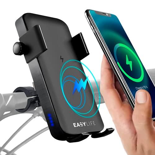 Easy-Life Handyhalterung mit powerbank für Fahrrad, Induktions-Ladegerät, handyhalter Roller, Motorrad, ATV. Telefonhalter mit Externer Batterie Induktion und Kabel, powerbank fahrradhalterung