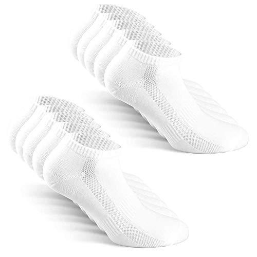 TUUHAW Calcetines de Deporte Mujer Hombre 10 pares Medio Cortos Calcetin Zapatilla Transpirable Blanco 43-46