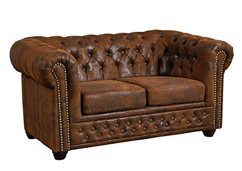 MASSIVMOEBEL24.DE Sofa Chesterfield, 2 Sitzer Couch Leder Optik, braun im englischen Kolonialstil 148x86x72, Chesterfield Serie
