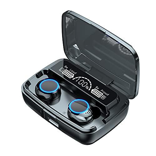 BAHER Auriculares Inalámbricos Auriculares Bluetooth 5 1 con Micrófono con Cancelación de Ruido Control Táctil en Auriculares Estéreo Impermeables con Estuche de Carga para Deporte