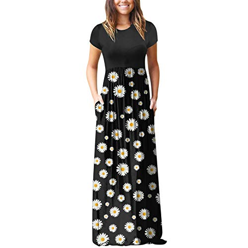 Summer Maxi Dresses for Women, Crew Neck Short Sleeve Dress Floral Printed Long Dress with Pockets