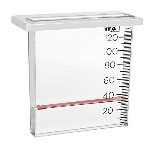TFA Dostmann Analoger Regenmesser, 47.1014, Niederschlagsmengenmarkierung, für den Zaun/Geländer, transparent, L195 x B45 x H255 mm