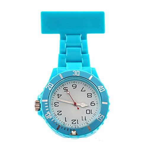 YYMY Reloj de Enfermera Médico,Reloj de Bolsillo para Enfermera con Puntero de luz Nocturna, Pecho de médico Grande y Neutro, Azul Cielo