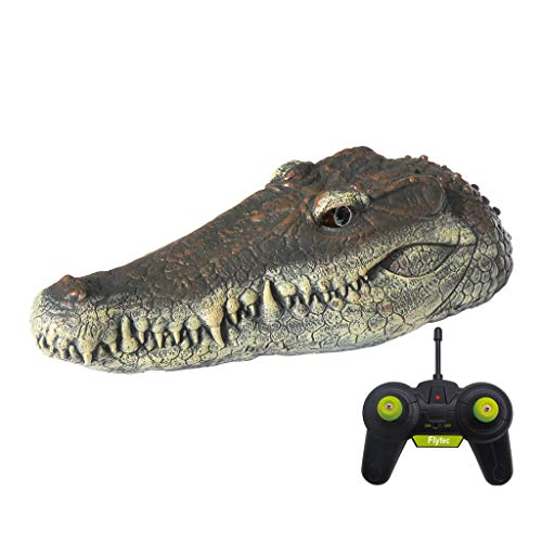 BBTshop Remote Control Crocodile Head Floating RC Boat, 2.4G Remote Control Electric Racing Boat with Simulation Crocodile Head Spoof Toy, Fake Alligator Head Decoy for Pool, Pond, Garden (B)