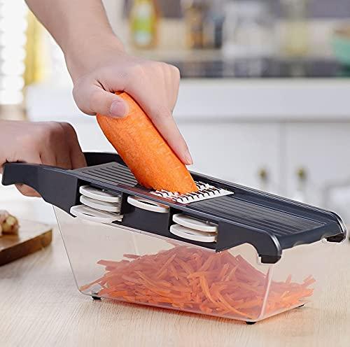 PPuujia Cortador manual de cebolla cortador de patatas cortador de frutas vegetales de acero inoxidable Mandolina cebolla pelador de zanahoria rallador Dicer herramientas de cocina (color 1807 M gris)