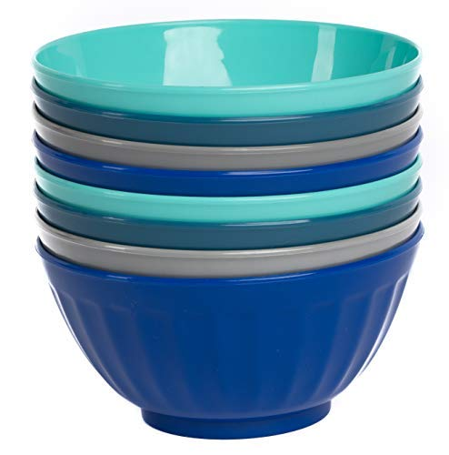 Klickpick Home 6 Inch Plastic Bowls Set of 8-28 ounce Large Plastic Cereal Bowls Microwave Dishwasher Safe Soup Bowls - BPA Free Kids Bowls 4 Coastal Colors (2 of Each Color)