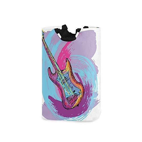 DYCBNESS Cesto para la Colada,Ilustración De Guitarra Eléctrica Artística Musical Moderna Festiva,Cesta de lavandería Plegable Grande,Cesto de Ropa Plegable,Papelera de Lavado Plegable