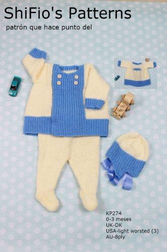 patrón para dos agujas - KP274 - chaqueta matinée, leggins y sombrero para bebé