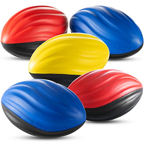 Bedwina Mini Foam Football (Pack of 6) 5 Inch Tow ToneSpiral Foot Ball, for Party Game Prize,Sports Outdoor Play, Stocking Stuffer, for Kids