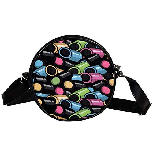 Runde Crossbody Tasche Kleine Handtasche Damen Mode Schultertaschen Messenger Bag Canvas Tasche Hüfttasche Zubehör für Frauen - Lakritz Süßigkeiten