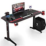 VIT 44 Inch Ergonomic Gaming Desk with USB Gaming Handle Rack&Full Desk Mouse Pad, T-Shaped Office PC Computer Desk,...