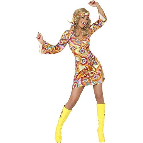 Smiffys 34060 Déguisement Hippie Années 60, Robe et Bandeau, 60's Groovy Baby, Serious Fun, Femme, Multicolore, M (40-42 EU) M (40-42 EU)