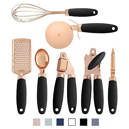 JDV 7 Pz Set di gadget da cucina rivestiti in rame Utensili in acciaio inossidabile Pelapatate Grattugia per formaggio Apriscatole Scoop(black)