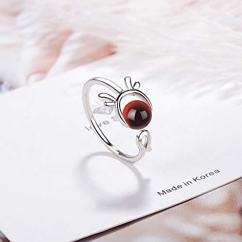 BNFG Open Rings For Womenm,Fashion Ladies Adjustable Open Rings Red Garnet Cute Antler Animal Design Silver Elegant Ring Engagement Eternity Xmas Jewellery Gift For Women Girls