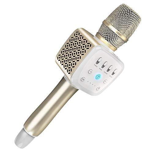 LOVEHOUGE Micrófono Inalámbrico De Karaoke con Bluetooth para iPhone/Android/iPad/Sony,PC Y Todos Los Teléfonos Inteligentes,Los Mejores Regalos,Oro