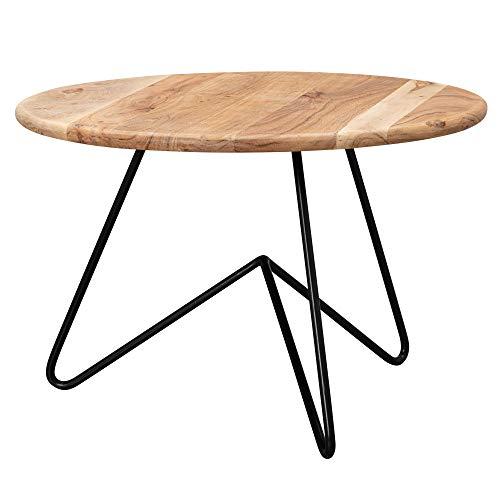WOHNLING Couchtisch 60x39,5x60 cm Akazie Massivholz/Metall Sofatisch | Design Wohnzimmertisch Rund | Kaffeetisch Massiv | Kleiner Tisch Wohnzimmer