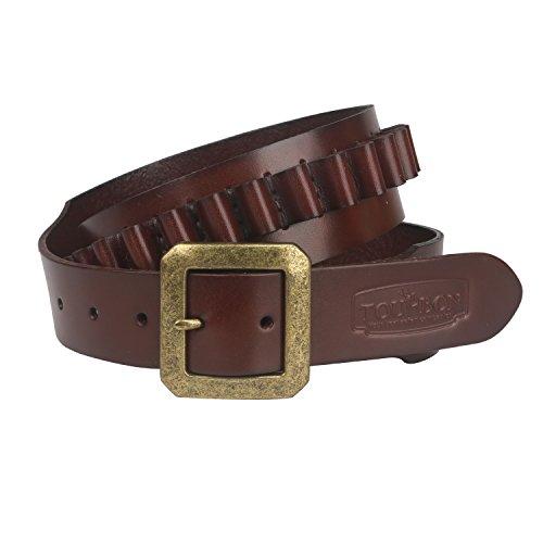 TOURBON Adjustable Leather Bandolier Pistol Cartridge Belt for 9mm/38SPL- Brown