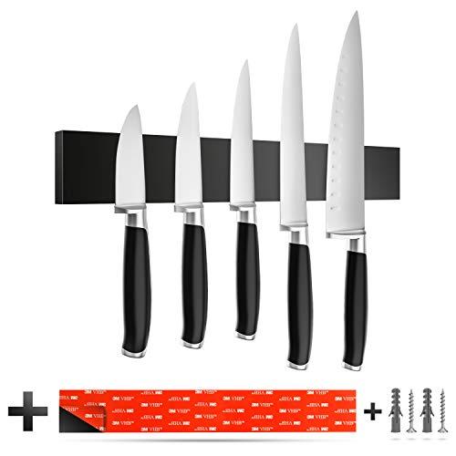 Romero Living Silikon Magnet Messerleiste in schwarz 40 cm inkl. 3M VHB Klebeband | Selbstklebender Messerhalter mit starken Magneten zur Wandmontage ohne Bohren